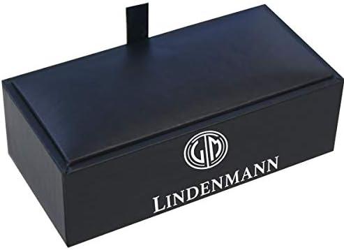 LINDENMANN Cufflinks/Cuff Buttons, Silvery, mop, with Gift Box