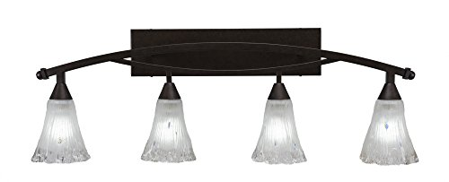 Toltec Lighting 174-BRZ-721 Bow 4 Light Bath Bar with 5.5