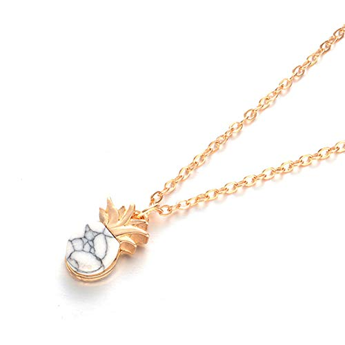Hanloud Unique Pineapple Pendant Necklace Fruit Marble Stone Pineapple Clavicle Chain Necklace for Women -