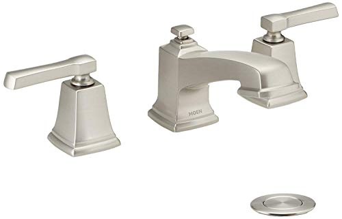 Moen WS84820SRN Boardwalk Two-Handle Low Arc Bathroom Faucet, Spot Resist Brushed Nickel