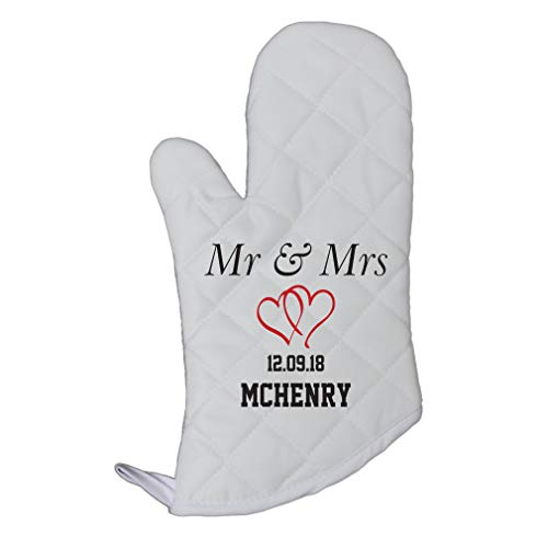 Oven Personalized Mitts - Personalized Custom Text Wedding Mr. & Mrs. Twin Hearts Polyester Oven Mitt