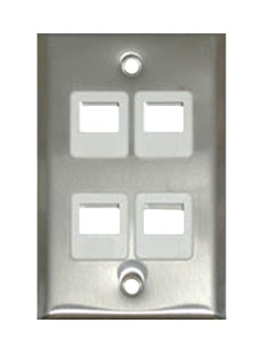C2G 37096 Four Port Keystone Single Gang Wall Plate, TAA Compliant, Stainless Steel