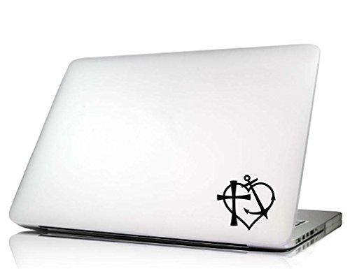 Laptop Decal Symbol Faith hope love but the greatest of these is love Corinthians 13:13 heart cute anchor cross Vinyl macbook skin sticker saying lettering religious art keyboard decal Die-cut (no background color) ()