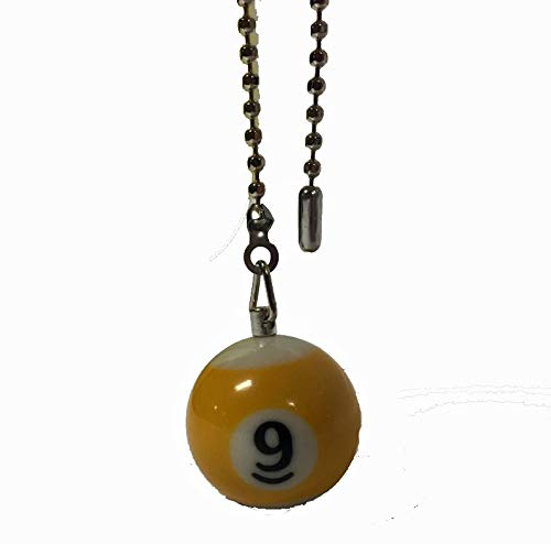 Billiard Ball Ceiling Fan Pull Chain Extender (Yellow 9 - - Ornament Ball Stripe
