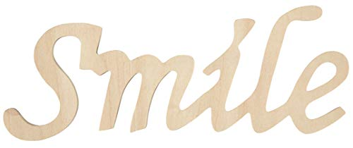 Darice Wood Script Words Smile 3 X 7 Inches(4-Pack) -