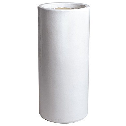 Tall Round Ceramic Planter - White