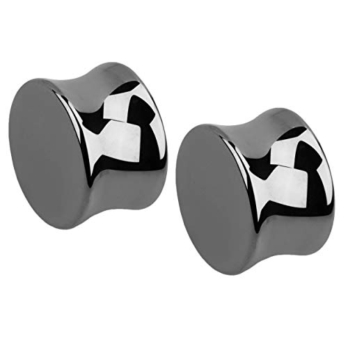 - Hematite Stone Double Flared Plug Earrings, Sold as a Pair (18mm (11/16
