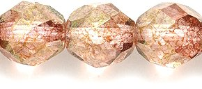 Preciosa Czech Fire 8 mm Faceted Round Polished Glass Bead, Picasso Pink on Crystal, - Round Beads Marbled Glass