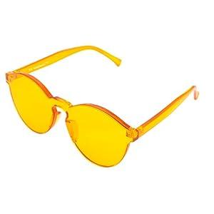 FEISEDY Stylish Round Transparent Lens Rimless Frame Sunglasses B1895