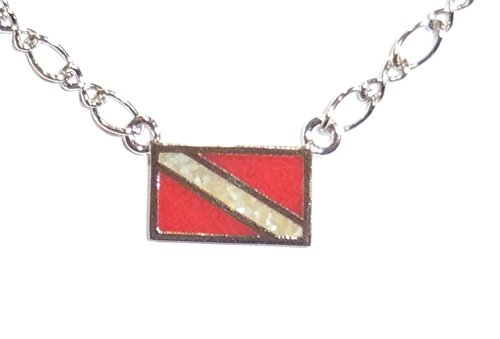 In-Line Dive Flag Pendant, with Inlay of Simulated Red Coral and Mother-of-Pearl Chips, on Rhodium-Plated Brass Chain (16