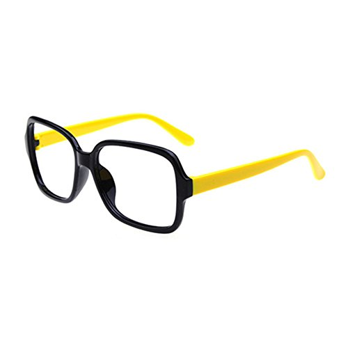 FancyG Retro Classic Fashion Style Square Shape Glass Frame NO LENSES Eyewear - Black with Yellow Arms