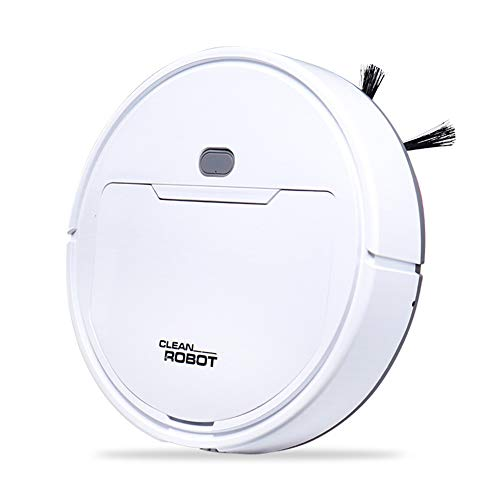 Robotic Vacuum Cleaner,Automatic Cleaning Robot Low Noise,Sweeping and Mopping 2 in 1,One-Button Start,Works for Hard Floor and Thin Carpet,White (Cordless Mop And Auto Sweeper 2 In 1)