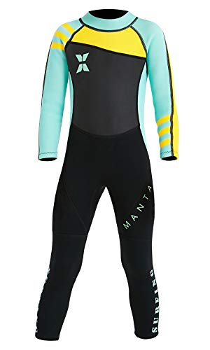 DIVE & SAIL Boys Girls Long Sleeve Wetsuit Thermal Warm Long Sleeve Swimsuit UPF 50+ Sun Protection Sun Suit Green XXL