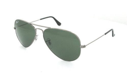 Ray-Ban - RB3025 (Aviator Large Metal) - Gunmetal Frame-Crystal Green Polarized 55mm - Ban Hard Aviator Case Ray