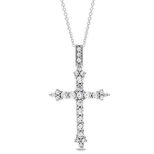 MIA SARINE Round Cubic Zirconia Fleurette Cross Necklace for Women in Rhodium Plated Sterling Silver (White)