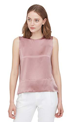 LilySilk Laos Silk Blouse Sleeveless Summer Vintage Real Elegant Round Neck Silk Tank Tops Pink Silk Blouse XXL