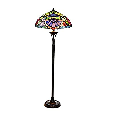 "Chloe Lighting CH18982GV18-FL2 2 Baroque/Roses 18"" Shade Hannah Tiffany-Style Floor Lamp, 64 x 18 x 18, Bronze"