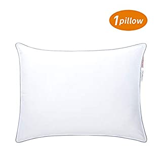 HOMBYS Goose Feather Down Bed Pillows for Sleeping (Standard Size 1 Pillow)