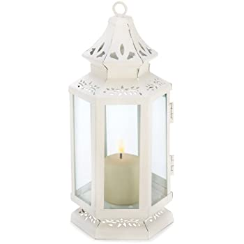 Gifts & Decor Victorian Lantern Candle Holder, Small, White