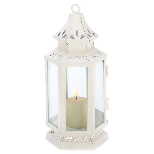 Gifts & Decor Victorian Lantern Candle Holder, Small, White]()