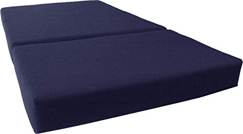 D&D Futon Furniture Navy Solid Twin Size Shikibuton Trifold Foam Beds 6 Thick x 39 W x 75 inches Long, 1.8 lbs high Density Resilient White Foam, Floor Foam Folding Mats.