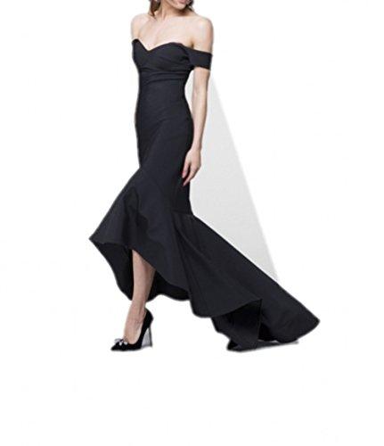 Milano Bride Schwarz Elegant Satin Meerjungfrau Abendkleider Partykleider Promkleider Figurbetont Lang Festlich