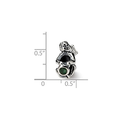 Solid .925 Sterling Silver Reflections May CZ Antiqued Bead 16.36 mm Cubic Zirconia Antiqued Bead