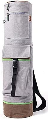 Heathyoga - Bolsa para tapete de Yoga, 71,1 cm (Largo) x 20,3 cm (diámetro), Bolsillos de Almacenamiento multifuncionales, 100 % Lona de algodón con ...