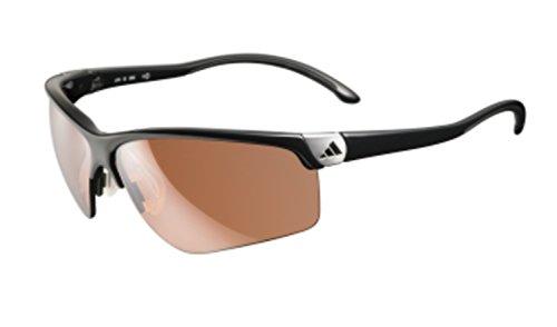 adidas adivista L a164-6050 Rectangle Sunglasses,Shiny Black & Chrome Frame/LST Contrast Lens,One Size