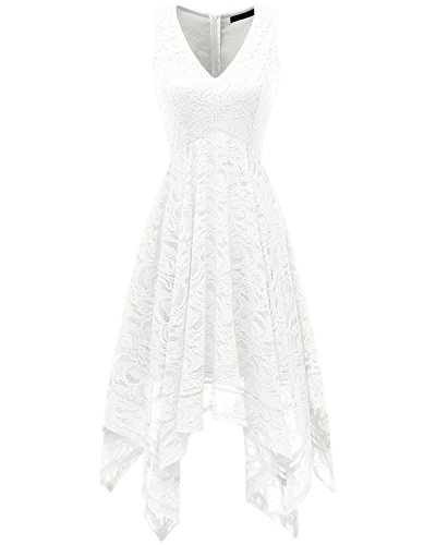 Bridesmay Women's V-Neck Sleeveless Asymmetrical Handkerchief Hem Lace Cocktail Dress White XL