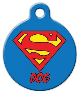 Dog Tag Art Custom Pet ID Tag for Dogs - Super Dog - Large - 1.25 inch