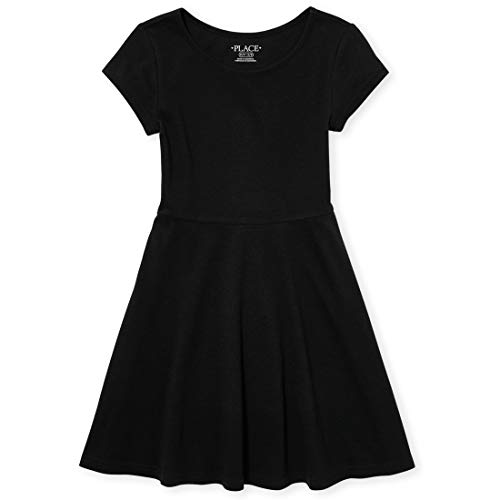 Young Girls Dress (The Children's Place Girls' Big Short Sleeve Solid Knit Pleat Dress, Black, L)