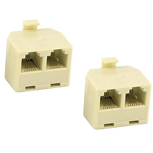 BTMB 2 Pcs RJ11 1 to 2 Telephone Line Wall Jack Splitter Duplex Modular Converter Adapter Telephone Accessory,Beige