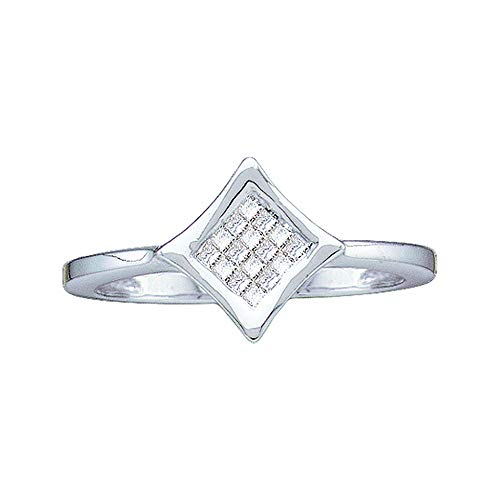 (Jewels By Lux 14kt White Gold Womens Princess Diamond Square Cluster Ring 1/8 Cttw In Invisible Setting (I2-I3 clarity; J-K color))