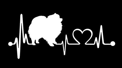 Bluegrass Decals K1057 Pomeranian Heartbeat Monitor Decal Sticker