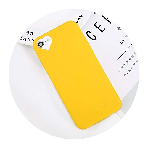 (Phone Case for iPhone 6 6s 7 8 Plus 5 5s SE Fashion Candy Solid Color Love Heart Soft Silicone for iPhone 8 Phone Case,Yellow,for iPhone 8 Plus)