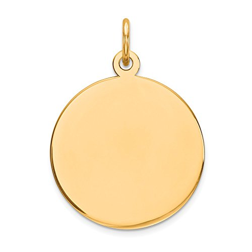 - 14k Yellow Gold .009 Gauge Circular Engravable Disc Pendant Charm Necklace Round Plain Fine Jewelry Gifts For Women For Her