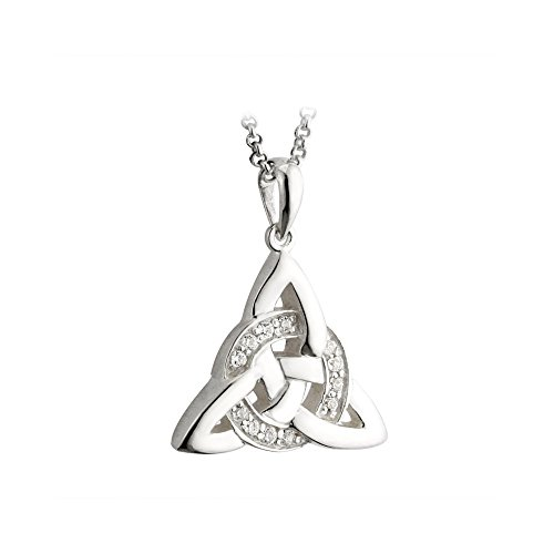Solvar Trinity Knot Necklace Celtic Irish Sterling Silver CZ Pendant Made in Ireland