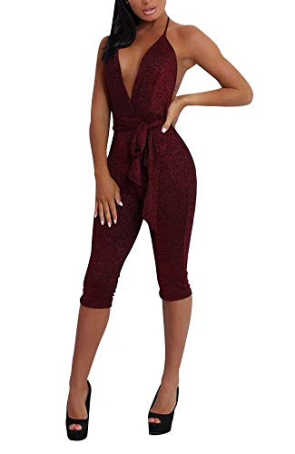 OLUOLIN Women's Deep-V Strapless Sleeveless Backless Playsuit Sequined Jumpsuit Wine Red