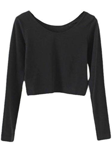 SweatyRocks Women's Rose Embroidered Long Sleeve Crop T-shirt Casual Tee Tops Black#1 M