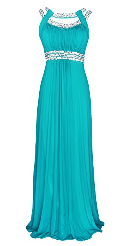 Licoco Women Sleeveless Beaded Semi-Formal Long Maxi Evening Gown Wedding Dress (Turquoise 70, XLarge) ()