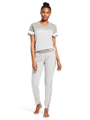 U.S. Polo Assn. Womens Short Sleeve V-Neck Color Block Shirt Pants Pajama Sleep Set Heather Grey Large