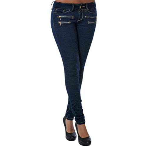 Poche clair Slim Stretch Pantalons Femme Jean Fit Casual Skinny Basse Taille Crayon Fermeture Solike Bleu avec Jeggings Zipper Leggings YOXEgwx