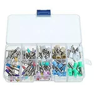 100pcs/Set Dental Polishing Brush Polisher Rubber Cup Latch Colorful Nylon Bristles Mix Style Dentist Tool