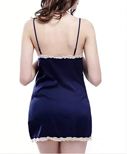 Moda Tirantes Sling Mangas Mujer Vestido V Azul Abiertas Ropa Sin Dormir De Elegante cuello Pijama Camisón w4PzqBR1