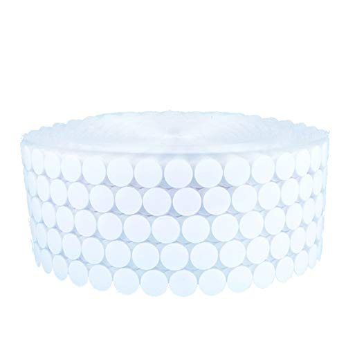 Queenbox 1000pcs Self Adhesive Dots 0.39 inches, Sticky Back Coins Nylon Hook Adhesive Tapes, White