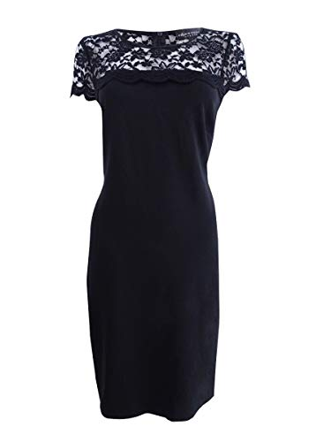 - Connected Women's Lace Seamed Shift Dress (12, Black)