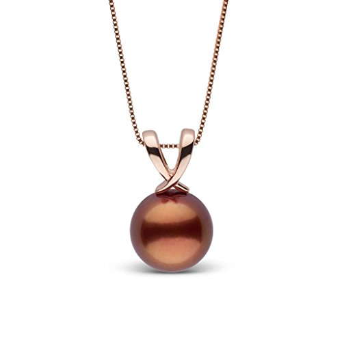 Ribbon Collection Chocolate Tahitian Cultured Pearl Pendant - Rose Gold - 18 Inch - Chocolate Tahitian Pearl Necklace