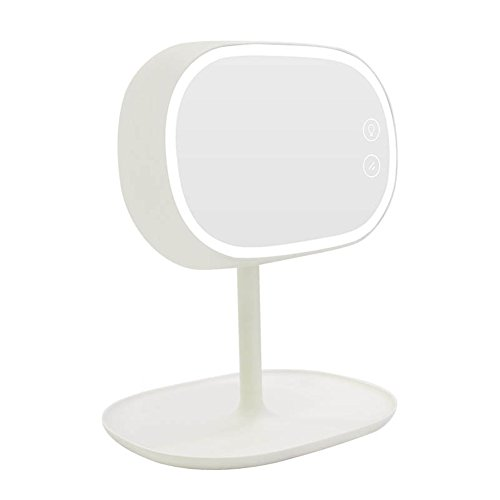 Makeup Vanity Mirror Rechargeable LED Lighted Cosmetic Mirror with Storage, YOOSKE Touch Screen Light Control Multi Function Desk Lamp Bedroom Mirror for - Base Mirror Lamp
