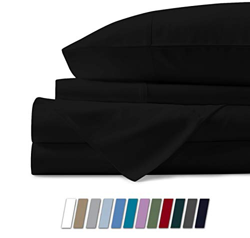 (500 Thread Count 100% Cotton Sheet Black Queen Sheets Set, 4-Piece Long-staple Combed Pure Cotton Best Sheets For Bed, Breathable, Soft & Silky Sateen Weave Fits Mattress Upto 18'' Deep Pocket)